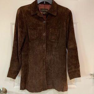 Nordstrom Brown Suede Lined Blazer Jacket size S